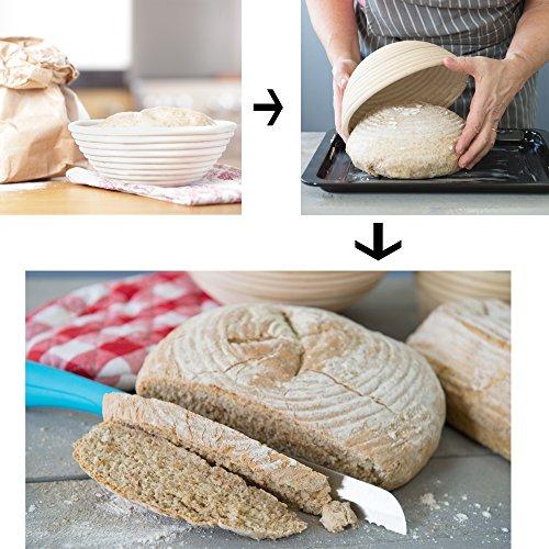 4-In-1 Set of Banneton Bread Proofing Basket (10 Inch) + Liner + Scraper + Linen Bag - Round Brotform Proofing Basket/Banetton Brotform Bowl - Best for Artisan Bread Making Sourdough, Rye & Others by 101KitchenEssentials (Image #2)