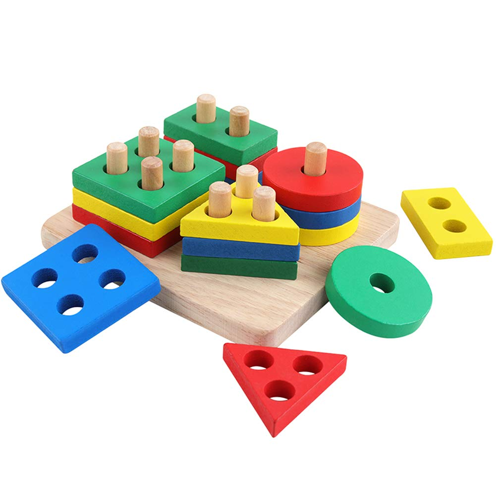 GEMEM Wooden Educational Shape Color Recognition Geometric Board Block Preschool Puzzle Board Toddler Toy Stacking Cups Baby Toys for 2 3 4 5 Years Old Boys and Girls