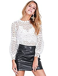 Imixshop Women's Lace Crochet Sheer Blouse Loose Tops T-Shirt Pullover for Cocktail