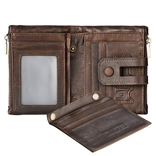RFID Blocking Men's Wallet with Coin Pocket - Bifold Vintage Genuine Leather With 2 Zip Pockets - Ideal for Travel - Compact - Horizontal & Vertical Slots - 16 Card Capacity, ID Window, Snap Closure