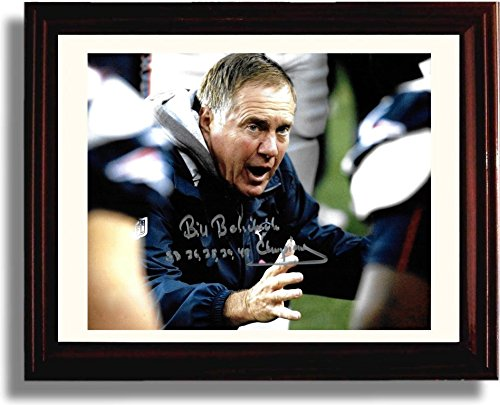 Framed Coach Bill Belichick  Super Bowl List  Autograph Replica Print