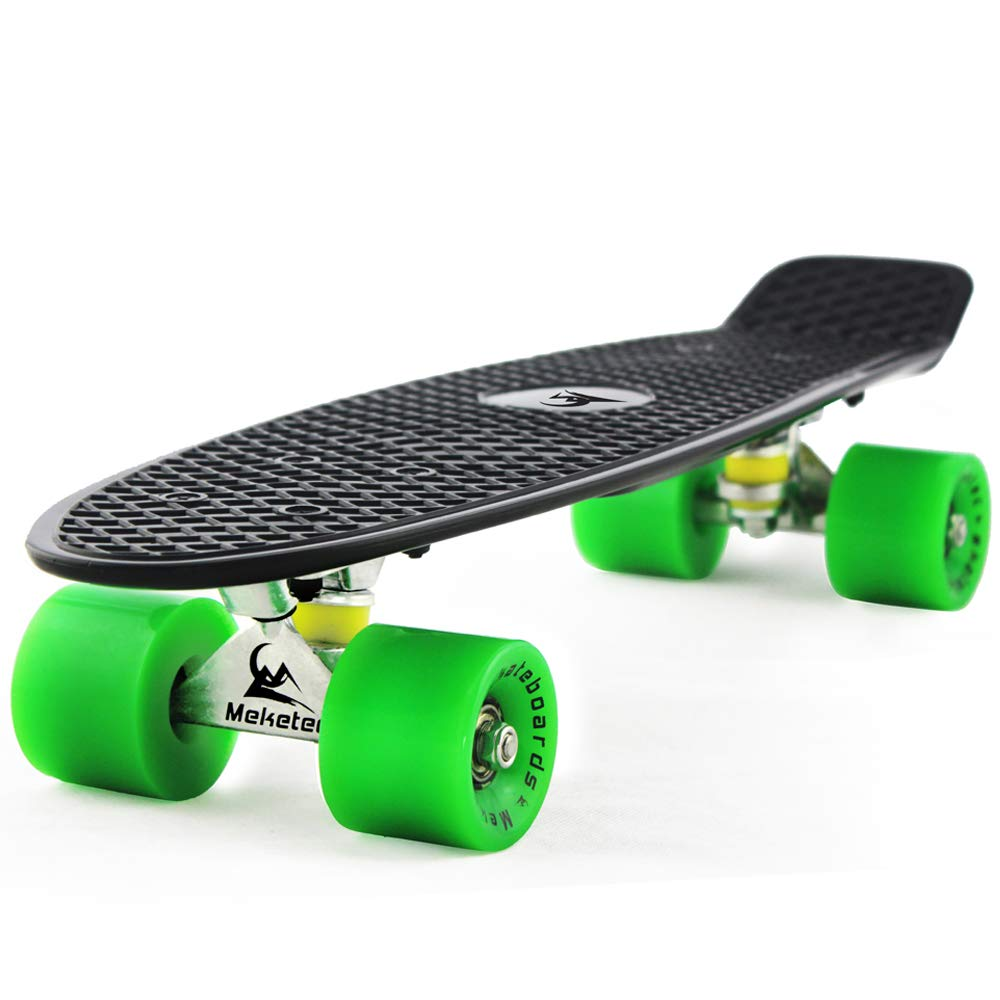 MEKETEC Skateboards Mini Cruiser 22 inch Retro Boy Kids First Skateboard for Youth Beginners Children Teenageres Girl Youth Adults Patinetas Boys 7 to 10