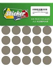 120 puntos adhesivos, 30 mm, plata, de PVC, resistente a la intemperie, puntos de marcado, círculos, puntos adhesivos