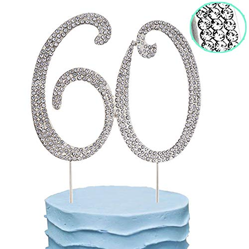 60th Cake Topper Rhinestone Birthday Wedding Anniversary Party Diamond Number Cake Decoration Perfect Keepsake, Silver -