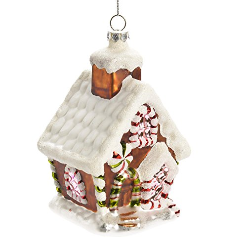 Caffco Gingerbread House Glittery Glass Hanging Christmas Ornament