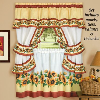 Charming Sunflower Garden Cafe Curtain Set ( 57