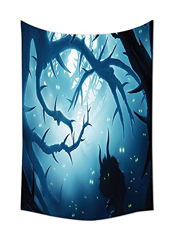 Mystic House Decor Tapestry Wall Hanging Animal With Burning Eyes In Dark Forest At Night Horror Halloween Illustration Bedroom Living Room Dorm Decor Navy (Dates For Halloween Horror Nights)