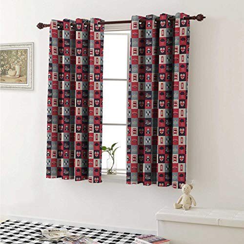 London Thermal Insulating Blackout Curtain Retro Traditional London Icons in Squares United Kingdom Europe Travel Vacation Curtains Girls Room W55 x L39 Inch Multicolor