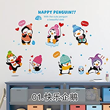 MiniWall Kindergarten Classroom Wall Paper ChildrenS Room Decoration Creative Cartoon Penguin Postersposed Happy