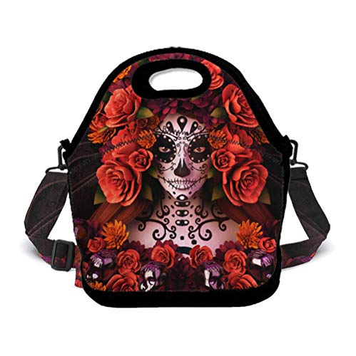 Insulated Lunch Bag for Women | Leak-Proof Lunch Box for Meal Prep | Compact Moisture Resistant Food Container - Zipper - Sugar Skulls and Roses Day of Dead Halloween - 11 X 5.5 X 9.8 Inches