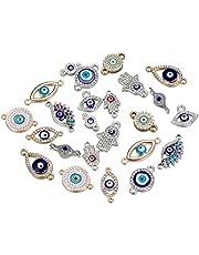 20pcs Antique Silver Mix Style Elephant Tree of Life Owl Evil Eye Flower Enamel Rhinestone Diamond Beads Charms Jewelry Connectors for DIY Bracelet Necklace Jewerly…