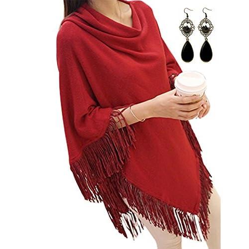 fa5e6306bff outlet Sitengle Mujeres Ponchos Capas Tassel Suaves Suéter Otoño Invierno  Jersey Largas Mini Vestidos Chaqueta Túnica