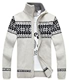 Product review for ARTFFEL-Men Leisure Stand Collar Zip-up Christmas Jacquard Knitted Sweater