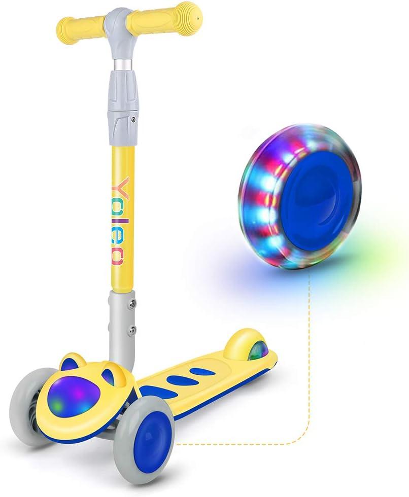 YOLEO Kinder Roller Scooter Kinderscooter Dreiradscooter mit LED große Räder und Rollerfront