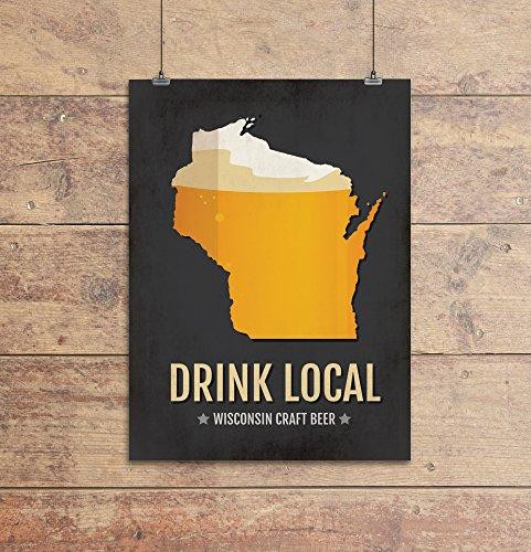 Wisconsin Beer Print Map - WI Drink Local Craft Beer Sign - Boyfriend Gift, Husband Gift, Beer Gift, Beer Art, Milwaukee,Madison Poster