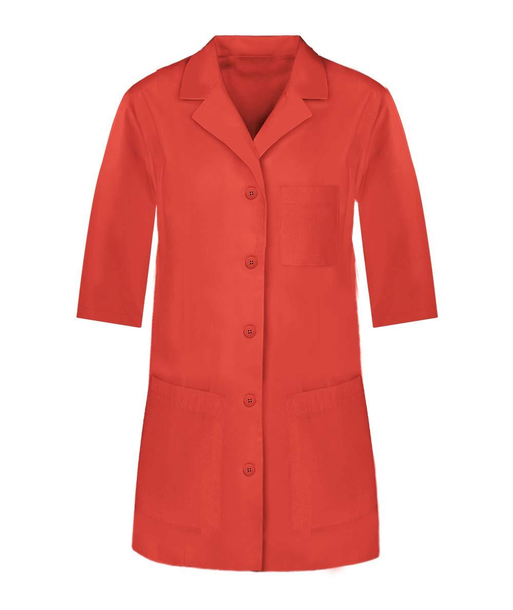 Panda Uniform Custom Colored Lab Coat for Women 32 Inch length- Orange -M