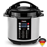 Mueller 9-in1 Pro Series 18 Smart Program Pressure Cooker with German ThermaV Even Heat Technology, 6Q/1000W, Slow Cooker, Rice Cooker, Yogurt Maker, Cake Maker, Egg Cooker, Sauté, Steamer, Warmer