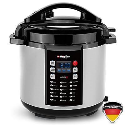 Mueller 9-in1 Pro Series 18 Smart Program Pressure Cooker with German ThermaV Even Heat Technology, 6Q/1000W, Slow Cooker, Rice Cooker, Yogurt Maker, Cake Maker, Egg Cooker, Sauté, Steamer, Warmer