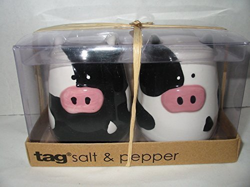 3-d Figural Holstein Cow Salt and Pepper Shakers Set Hand Painted By TAG by TAG - Figural Salt