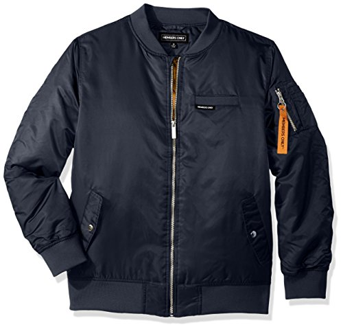 Members Only Big Boys' Flight Satin Ma1 Bomber, Navy, 14/16 (Navy Blue Kids Flight Jacket)