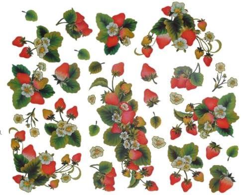 Sticker Erdbeere Unbekannt 29 TLG Wandsticker Erdbeeren Frucht rot Aufkleber Fensterbild Set Wandtattoo