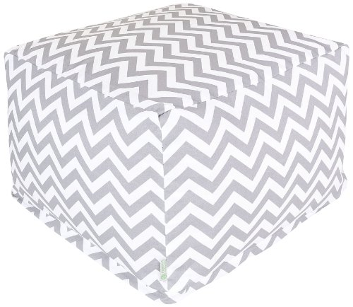 Majestic Home Goods Chevron Ottoman, Large, Gray by Majestic Home Goods