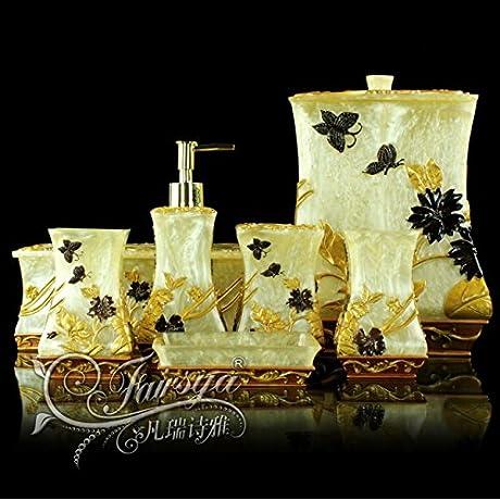 JinRou European Antique Bathroom Kit Wedding Gifts Resin Bathroom Accessories