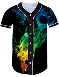 Men 3D Baseball Button Down Jersey Shirt Hipster Hip Hop Graphic Tee Top