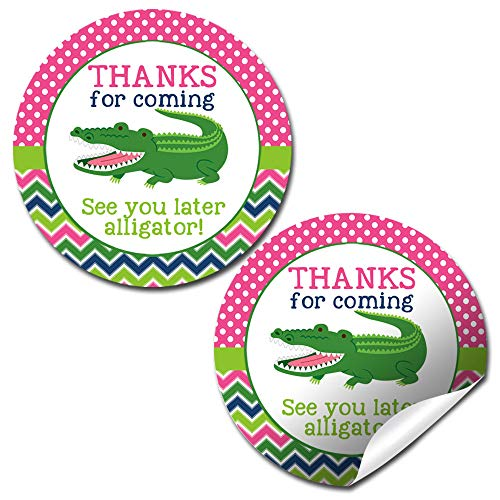 (Snappy See You Later Alligator Themed Birthday Thank You Sticker Labels for Girls, 40 2