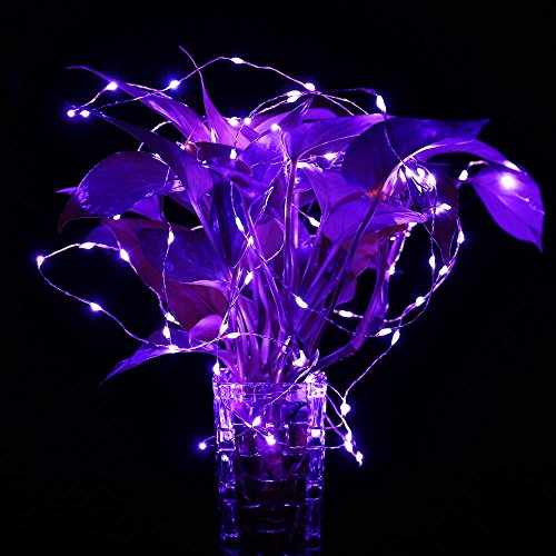 LuckLED Outdoor Solar Powered String Lights, 120 LED Purple Fairy Starry Copper Wire Rope Lights Halloween Lights for Indoor, Garden, Home, Wedding, Christmas Party and Holiday Decorations