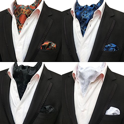 (Men's 4 Pcs Formal Cravat Party Ascot Scarf Tie Necktie & Pocket Square Set of 4)