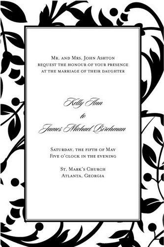Gartner Black & White Vines Invitations, Pack of - Invitation Vines White Kit