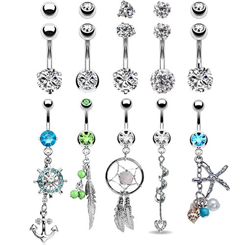 BodyJ4You 10 Belly Button Rings 5 Replacement Balls 14G Steel CZ Crystals Navel Jewelry