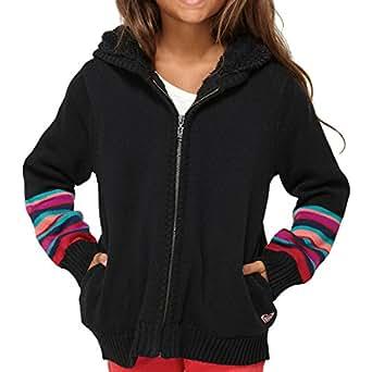 Roxy A Chance Storm Full-Zip Hoodie - Girls' True Black Knit Stripe, M(5)