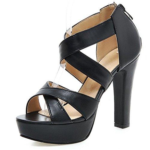 Sandals Heel Block Shoes Straps Women's High Cross LongFengMa Black Fashion Zipper wHqRBx1a