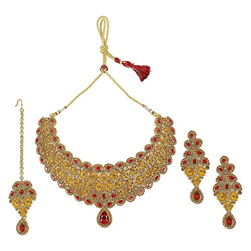 MUCH-MORE Indian Gorgeous Traditional Necklaces Earrings Jewelry for Women (N-5054 RED LCT)