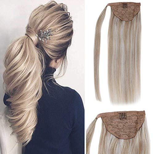 14 One piece Human Hair Ponytail Extensions Highlight Color #18 Ash Blonde and #613 Bleach Blonde Highlighted Straight Real Human Hair Extensions 70 Grams