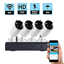 CR-CCTV Security Surveillance Video Camera System 4CH Network NVR Kits with Four HD 720p IP66 Waterproof Outdoor IP Bullet Cameras WIFI Wireless Kits Plug&Play, P2P(Without HDD)