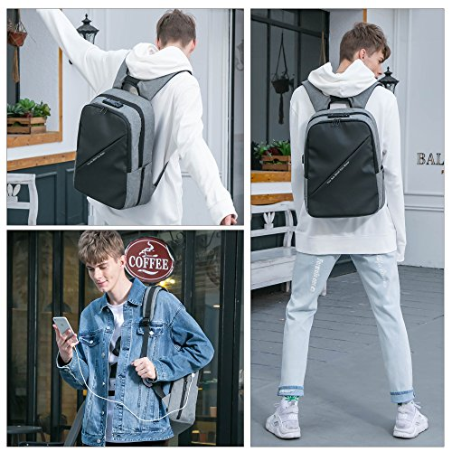 BISON DENIM Slim Business Laptop Backpacks Anti thief Tear/Water Resistant Travel Bag Backpacks fits up to 15 15.6 Inch Computer Laptops Backpack In Grey by BISON DENIM (Image #6)