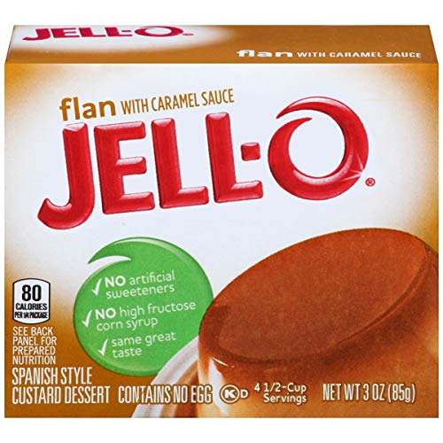 - JELL-O Flan with Caramel Sauce Dessert (3 oz Boxes, Pack of 18)