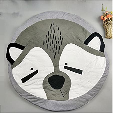 TheTickleToe Bear Pattern Cotton Blanket Play Mats Crawling Rug for Baby Nursery Kids Room (Grey)
