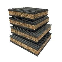 """PneumaticPlus 4 Pack of Anti Vibration Pads 4"""" x 4"""" x 7/8"""" Rubber/Cork Vibration isolation pads"""