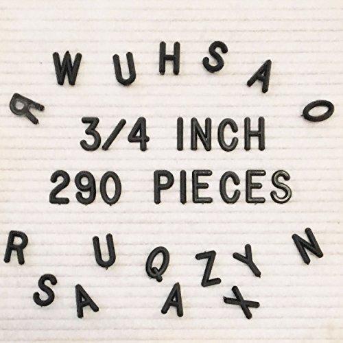 ReadyWerks 3/4 inch Black Sprue Letters for Felt Letter Board Letters - 290 Plastic Letters for Felt Letter (Letter Sprue Set)
