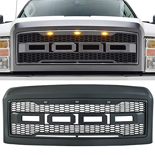 Packaged Grille fits 2008-2010 Ford F250 & 350 Super Duty | New Raptor Style Charcoal Gray ABS Front Bumper Grille Hood Mesh Guard by IKON MOTORSPORTS | 2009 ()