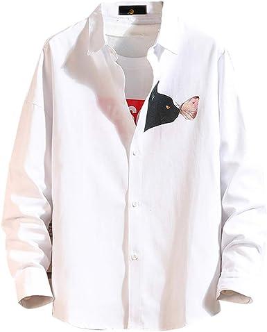 Camisa Bordada para Hombre, Manga Larga, elástica, con Botones de Resorte, para Hombre: Amazon.es: Ropa y accesorios