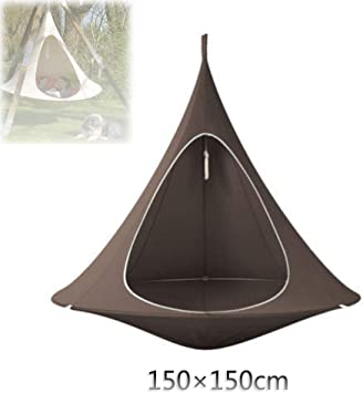 Amazon Com Gofei Conical Hammock Tent Hanging Swing Chair Tree Pods Chair Swing Used For Indoor And Outdoor Gardens Adults Children Brown 150cm150cm Furniture Decor
