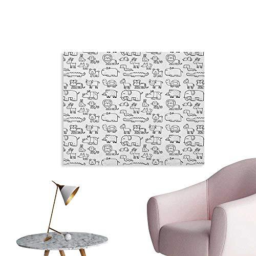 Nursery Corridor/Indoor/Living Room Wild Animals Set in Coloring Book Style African Safari Fauna in Monochrome Design Cool Poster Black White W32 xL24 (Lana Del Rey Tv In Black & White)