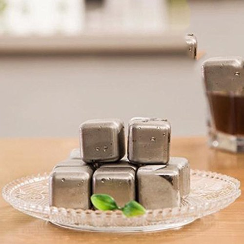 GeoBIX(TM) 4pcs/lot Whiskey Stones Ice Cubes Stainless Steel Soapstone Glacier Cooler Stone ping by GeoBIX (Image #3)