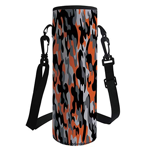iPrint Water Bottle Sleeve Neoprene Bottle Cover,Camo,Vibrant Artistic Camouflage Lattice Like Military Service Combat Theme Modern,Orange Grey Black,Fit for Most of Water Bottles by iPrint