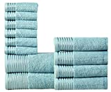 Wicker Park 600 GSM Ultra Soft 100% Combed Cotton 12-Piece Towel Set (Aqua): 2 Bath Towels, 4 Hand Towels, 6 Washcloths, Long-Staple Cotton, Spa Hotel Quality, Super Absorbent, Machine Washable
